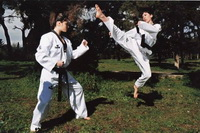 Woman karate domination over male 025