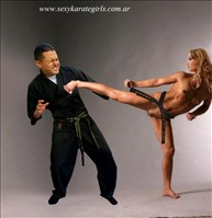 Young And Sexy Woman Self Defense Naked Karate Woman Versus Karate Guy