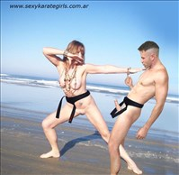 Hot Woman Self Defense  Naked Karate Woman Fighting In The Beach