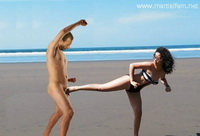08 - Bikini taekwondo woman beats rapist in the beach